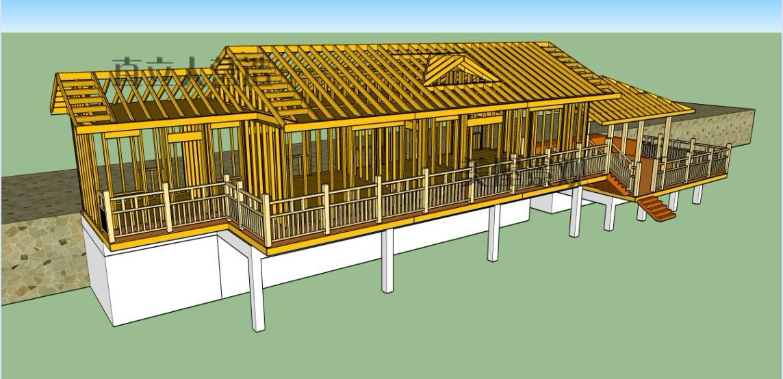 现代轻型木结构房到建筑过程